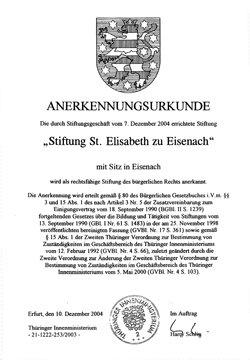 Stiftungsurkunde - Stiftung Sankt Elisabeth zu Eisenach